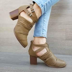 Shoes - Taupe Faux Leather Strap Ankle Booties